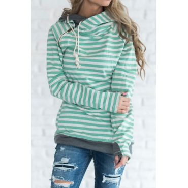 Lovely Casual Hooded Collar Striped Green Cotton Blends Hoodies