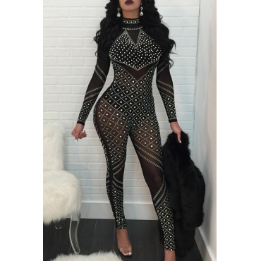 Sexy Round Neck See-Through Hot Drilling Decorative Black Polyester One-piece Jumpsuits(Without Lining)