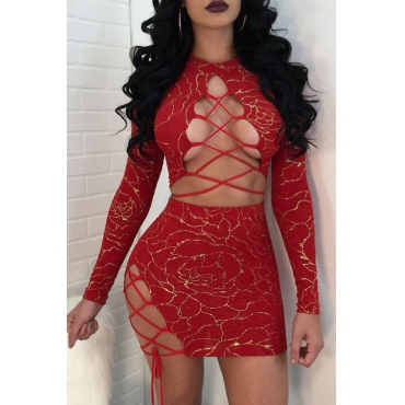 Sexy Round Neck Lace-up Hot Stamping Printed Red Polyester Two-piece Skirt Set