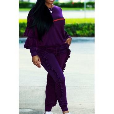 Euramerican Round Neck Ruffle Design Purple Blending Two-Piece Pants Set