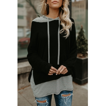 Lovely Trendy Hooded Collar Striped Patchwork Black Cotton Blends Hoodies