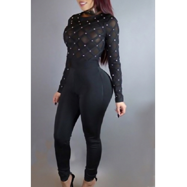 Sexy Round Neck Long Sleeves Gauze Patchwork +Pearl Decoration Black Healthy Fabric One-piece Skinny Jumpsuits