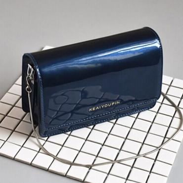Fashionable Solid Blue PU Crossbody Bag