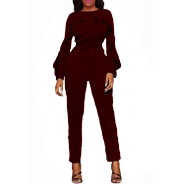 Stylish Round Neck Ruffle Design Wine Red Polyester One-piece Jumpsuits
