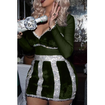 Sexy V Neck See-Through Army Green Polyester Mini Dress