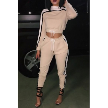 Casual Round Neck Contrast Color Khaki Polyester Two-Piece Pants Set