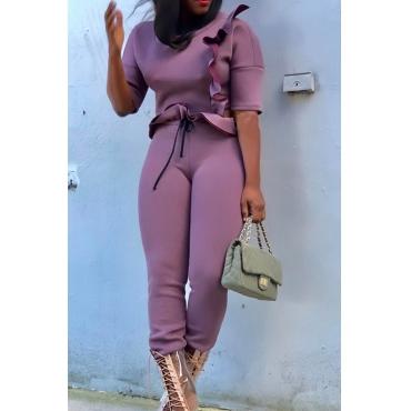 Stilvolle Rundhals Falbala Design Lila Polyester Zweiteilige Hose Gesetzt