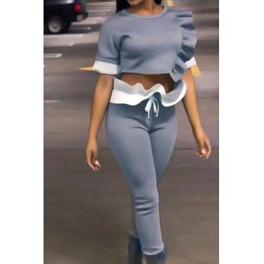 Stylish Round Neck Falbala Design Grey Polyester Two-Piece Pants Set