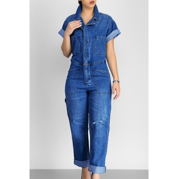 Casual Turndown Collar Short Sleeves Blue Denim One-piece Jumpsuits