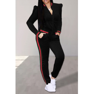 Casual Mandarin Collar Striped Black Velvet Two-Piece Pants Set