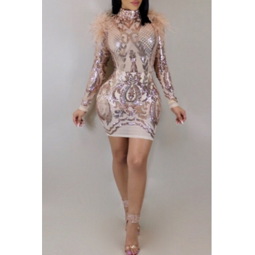 Sexy Round Neck Sequins And Fur Decoration See-Through Rose Gold Polyester Mini Dress