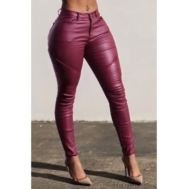 Pantaloni Con Zip In Pelle Rossa Di Alta Moda In Vita