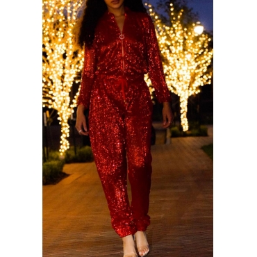 Fashion Mandarin Collar Sequins Decoration Red Polyester One-piece Jumpsuits