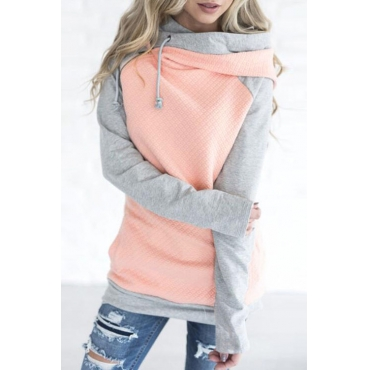 Lovely Leisure Hooded Collar Patchwork Pink Blending Hoodies