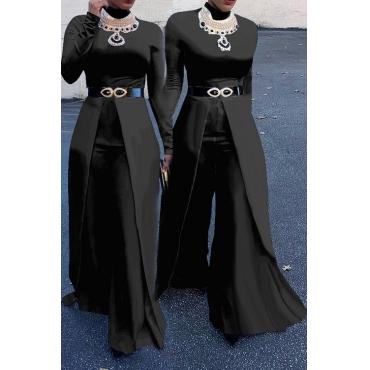 Fashion Round Neck Wide legs Design Black Cotton Blends One-piece Jumpsuits(Without Accessories)