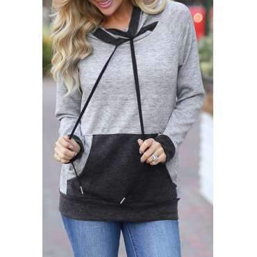 Lovely Leisure Hooded Collar Contrast Color Grey Cotton Hoodies