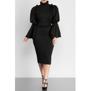 Vintage Mandarin Collar Trumpet Sleeves Ruffle Design Black Polyester Knee Length Dress
