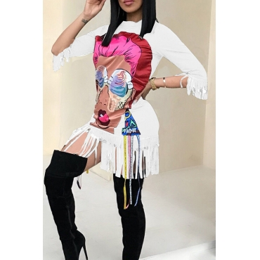 Casual Round Neck Cartoon Characters Printed Tassel Fringed White Cotton Blend Mini Dress