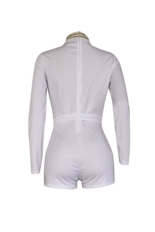Stylish Deep V Neck Patchwork White Cotton Blends One-piece Short Jumpsuits