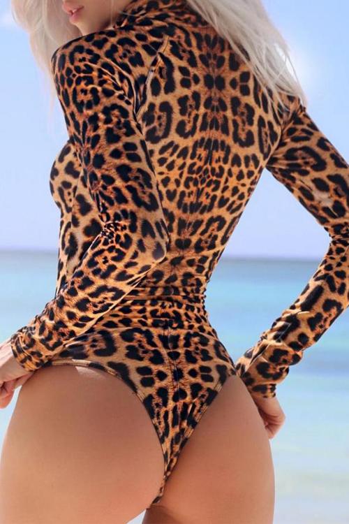 Diseño De Cremallera De Cuello Alto Sexy Monos De Una Pieza De Leopardo Poliéster