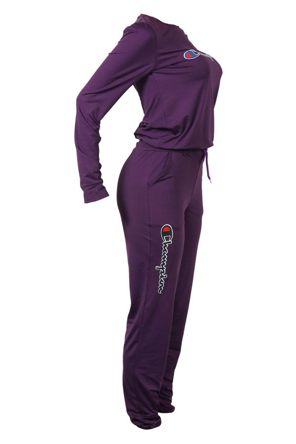 LovelyLeisure Round Neck Letters Printed Purple Cotton Blends One-piece Jumpsuits