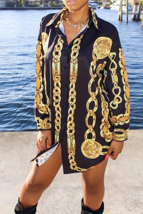 Casual Turndown Collar Printed Black Cotton Blend Mini Shirt Dress(With Belt)