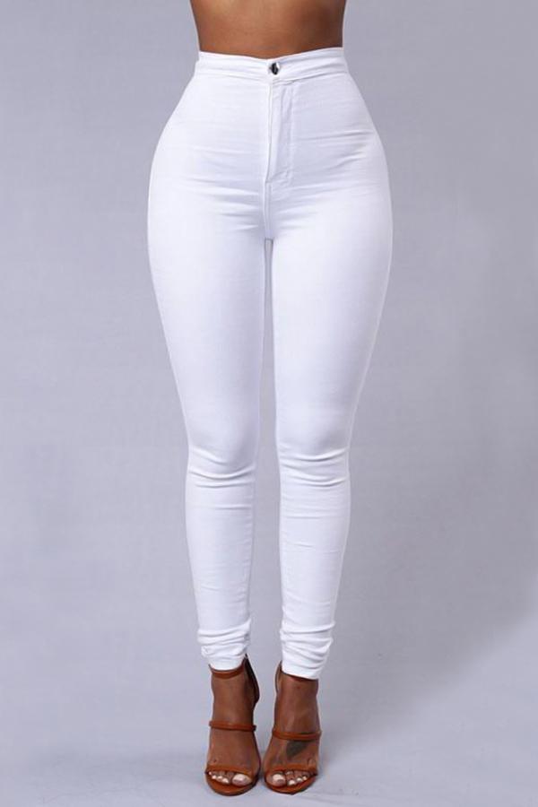 Pantaloni In Denim Bianco Con Design A Vita Alta Con Cerniera Euramerican