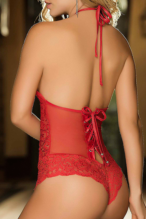 Sexy Neckholder Rückenfreie Schnürung Aushöhlen Rote Spitze Teddys