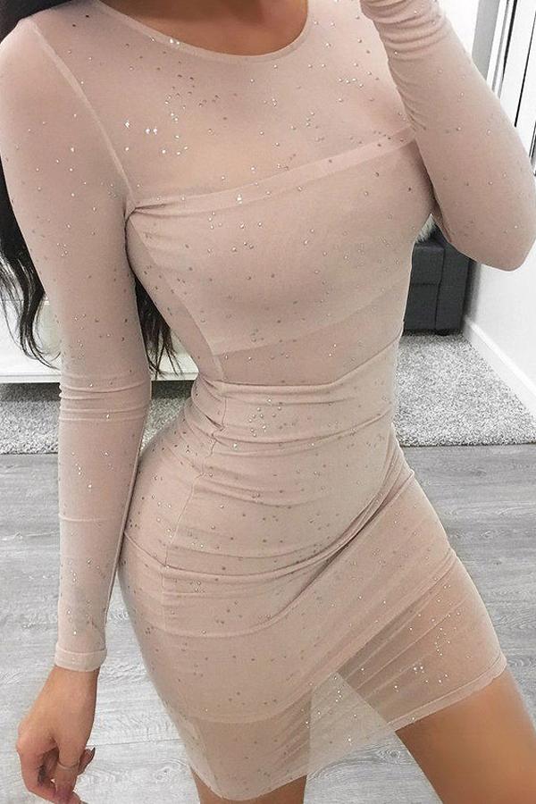Lovely Sexy Round Neck See-Through Sequins Decoration Khaki Polyester Sheath Mini Dress