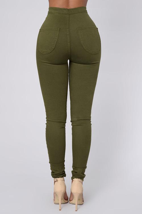 Diseño De Cremallera Euramerican Cintura Alta Pantalones De Mezclilla Verde