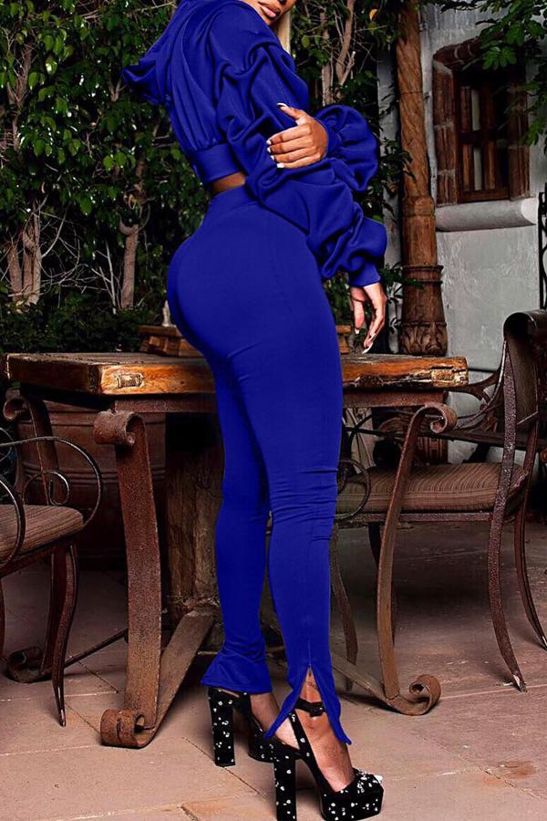 Schöne Euramerican Mit Kapuze Kragen Puff Ärmel Blau Polyester Zweiteilige Hosen Gesetzt