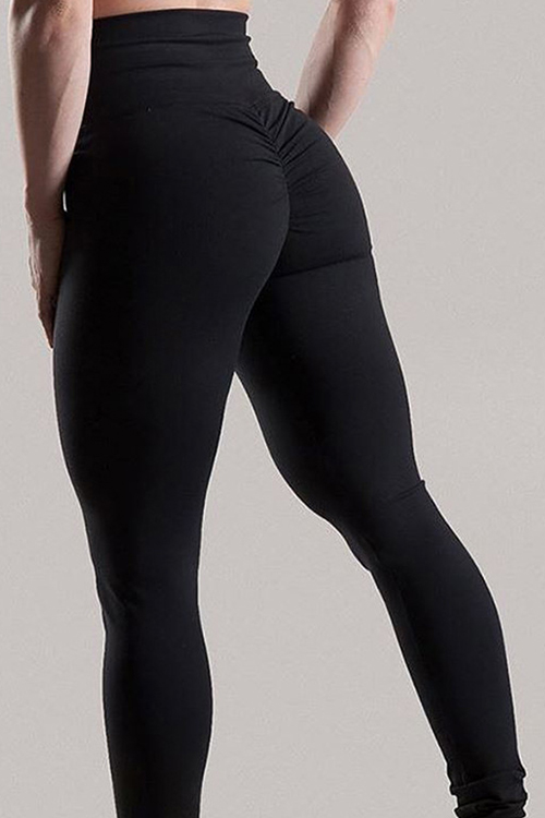 Moda Alta Cintura Doble Diseño Negro Mezcla Leggings