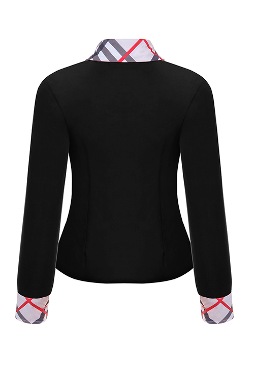 Fashion Turndown Collar Patchwork Single Breasted Black Polyester Shirts