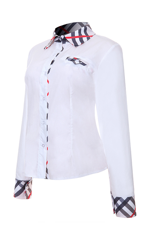 Fashion Turndown Collar Patchwork Single Breasted White Polyester Shirts