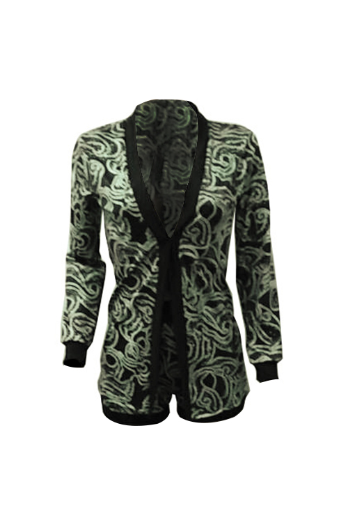Fashion V Neck Long Sleeves Printed Green Polyester Two-piece Shorts Set