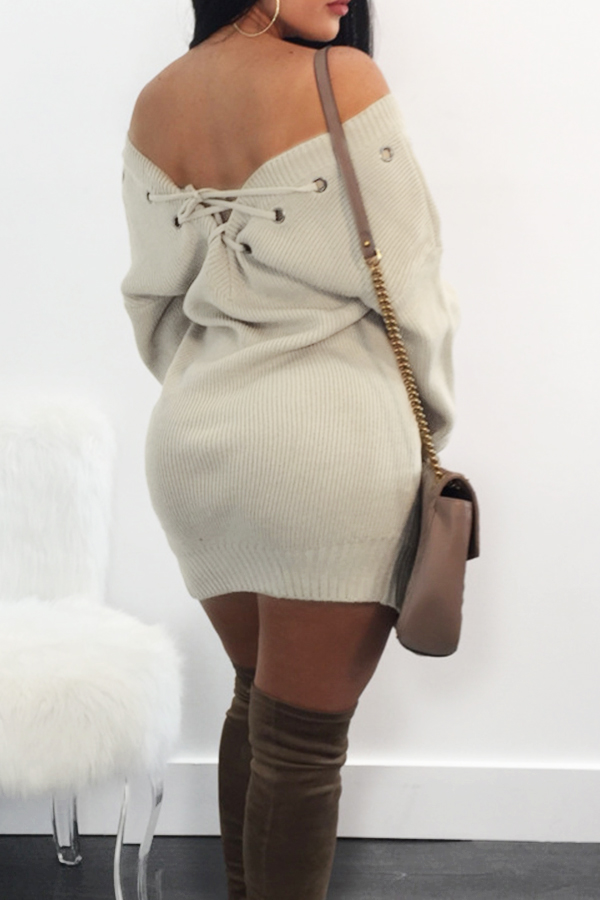 Sexy V Neck Eyelets Design Lace-up Khaki Polyester Mini Dress