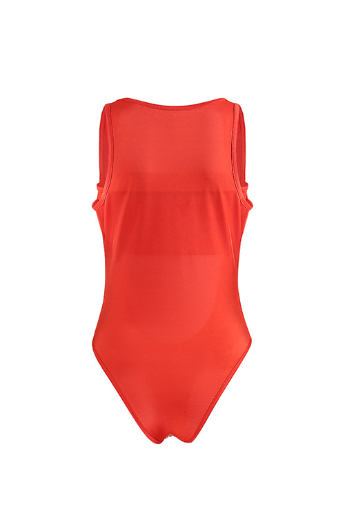 Lovely Sexy Hollow-out Orange Polyester One-piece Swimwears(With Wrap Chest)