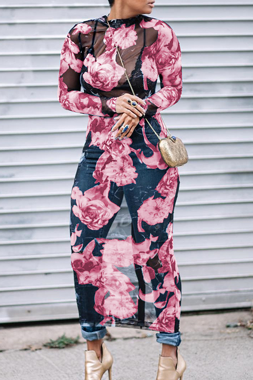 Lovely Sexy Round Neck See-Through Floral Printed Pink Polyester Mid Calf Dress(Non Positioning Printing)