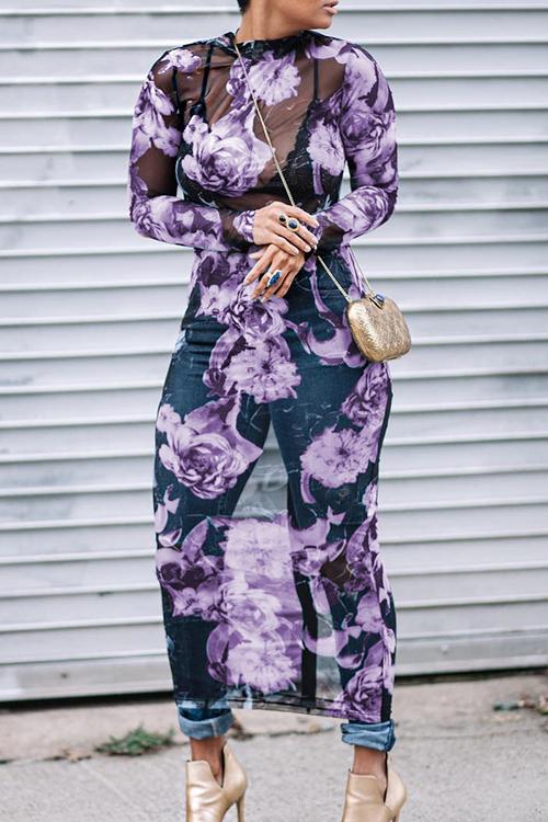 Симпатичный Сексуальный Круглый Шея Прозрачный Цветочный Напечатанный Фиолетовый Полиэфир Платье Среднего Теленка (без Позиционирования Печати)