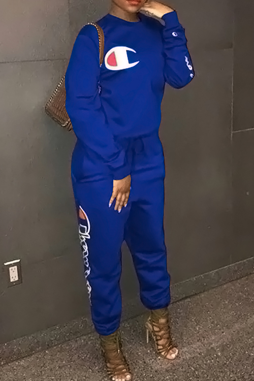 Lovely Leisure Round Neck Letters Printed Royalblue Cotton Blends One-piece Jumpsuits
