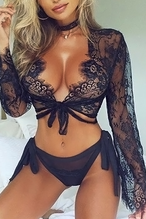 Lovely Sexy V Neck Hollow-out Black Lace Base Layer(Without Briefs)