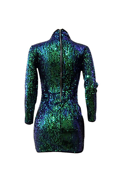 Lovely Sexy Round Neck Hollow-out Sequins Decoration Green Polyester Sheath Mini Dress