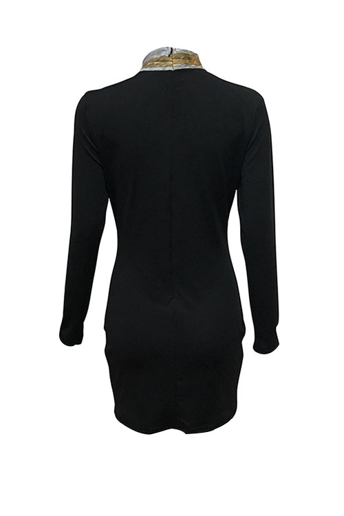 Lovely Sexy Mandarin Collar Hollow-out Patchwork Black Polyester Sheath Mini Dress