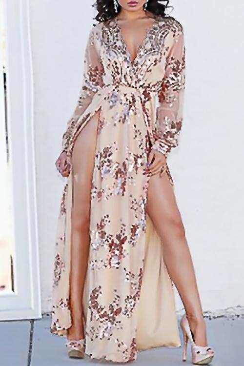 Lovely Sexy V Neck Sequins Decoration Side Slit Gold Polyester Ankle Length Dress