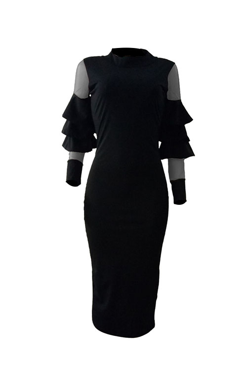 Lovely Sexy Round Neck Net Yarn Splicing Flounce Black Polyester Sheath Midi Dress