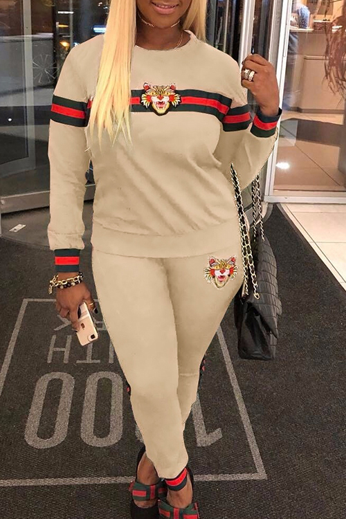 Lovely Casual Round Neck Patchwork Khaki Polyester Two-Piece Pants Set