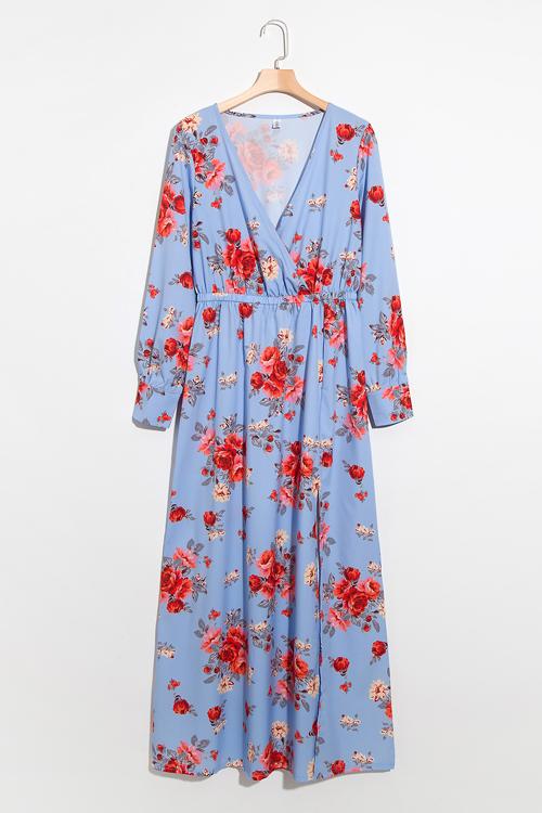 01a81e2195b Lovely Fashion V Neck Floral Printed Side Slit Blue Polyester Maxi Dress