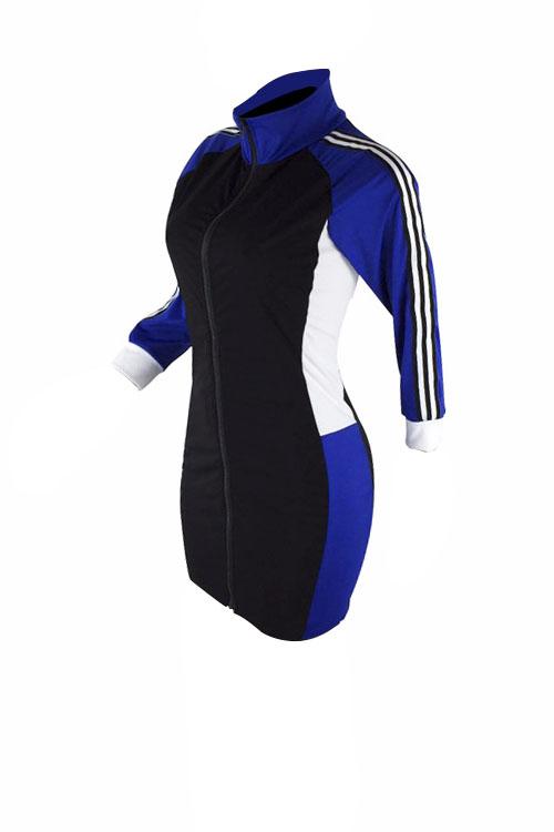 Encantadora Casaco Casual Com Gola De Tartaruga Azul Com Bainha De Poliéster Mini Vestido Com Zíper