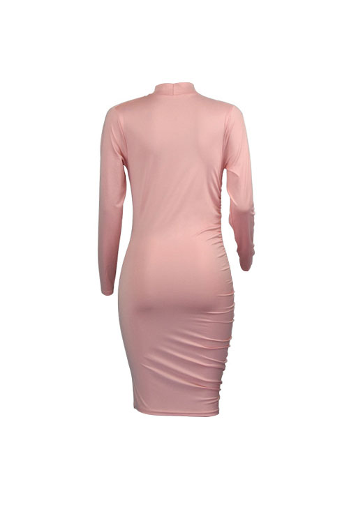 Lovely Sexy Mandarin Collar Fold Design Pink Polyester Sheath Knee Length Dress