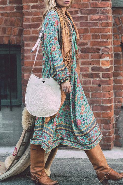 Милый Богемный V Шеи Нерегулярный Дизайн Цветочные Печати Зеленый Полиэстер Миди Платье